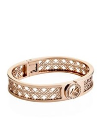 Michael Kors Fulton Monogram Hinge Bangle Rose Gold