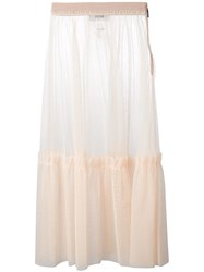 Msgm Sheer Pleated Skirt Nude Neutrals