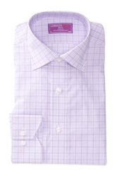 Lorenzo Uomo Trim Fit Glen Plaid Long Sleeve Dress Shirt Purple
