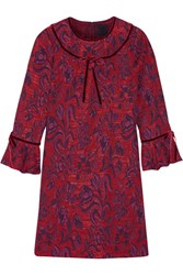 Anna Sui Floral Jacquard Mini Dress Red