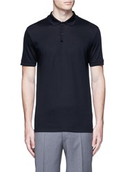 Lanvin Slim Fit Ribbon Shoulder Polo Shirt Blue