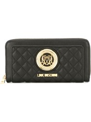 Love Moschino Quilted Large Zip Up Wallet Black