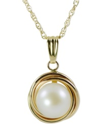 Macy's Pearl Necklace 14K Gold Button Cultured Freshwater Pearl Love Knot Pendant