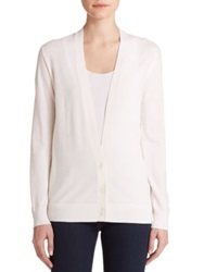 Theory Merino Wool V Neck Cardigan Black Ice White