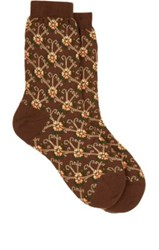 Maria La Rosa Women's Floral Print Mid Calf Socks Brown