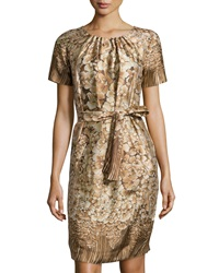 Philosophy Di Alberta Ferretti Floral Print Ruffle Neck Dress Brown Multi