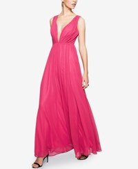 Fame And Partners Long Dress With Back Chain Hot Pink