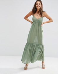Asos Tiered Maxi Beach Dress Khaki Green