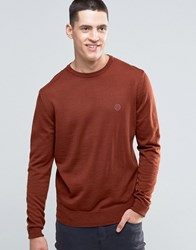 Pretty Green Jumper With Crew Neck In Slim Fit Spice Red Spice