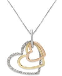 Macy's Diamond Tri Tone Triple Heart Pendant Necklace In Sterling Silver And 14K Gold 1 5 Ct. T.W.