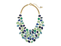 Lauren Ralph Lauren 18 Chain With Stones With Crystal Bib With Spring Closure Gold Blue Green Necklace