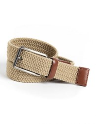 Perry Ellis Woven Leather Trim Belt Khaki