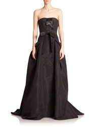 Carolina Herrera Embellished Silk Faille Trench Gown Black