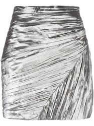 Saint Laurent Pleated Mini Skirt Metallic