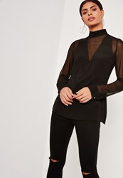 Missguided Tall Mesh Insert Chiffon Blouse Black
