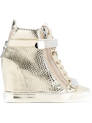 Giuseppe Zanotti Design Wedge Hi Top Sneakers Metallic