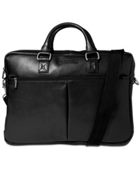 Perry Ellis Zip Top Leather Briefcase Black