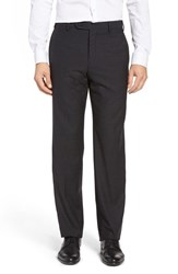 Zanella Men's Flat Front Check Wool Trousers