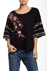 3J Workshop 3 4 Sleeve Embroidered Sweatshirt Black