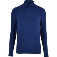 River Island Mens Navy Muscle Fit Polo Top