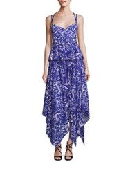Prabal Gurung Handkerchief Hem Printed Cotton Dress Cobalt White