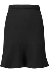 Carven Fluted Cotton Blend Mini Skirt Black