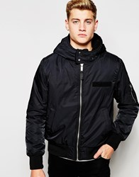 Cheap Monday Bomber Jacket Hooded Nylon Black