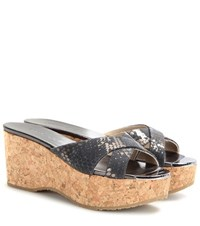Jimmy Choo Prima Cork Wedge Sandals Grey