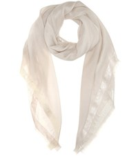 Loro Piana Quadrata Luna Cashmere And Silk Blend Scarf Beige