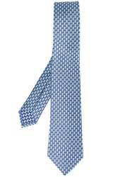 Bulgari Monkey Print Neck Tie Blue