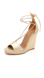 Aquazzura Alexa Wedge Espadrilles Light Gold