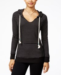 Miss Chievous Juniors' Striped V Neck Hoodie Black White
