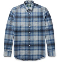 Gitman Brothers Vintage Button Down Collar Checked Cotton Flannel Hirt Blue