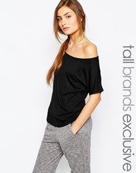 One Day Tall Off Shoulder Jersey Top Black