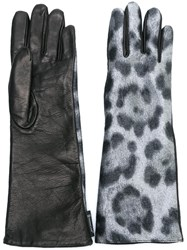 Moncler Leopard Print Leather Gloves Black