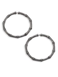 John Hardy Bamboo Medium Sterling Silver Hoop Earrings 1.25 Dark Silver