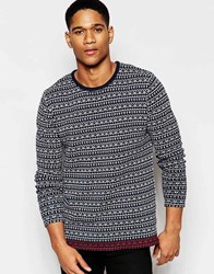 Solid Jumper With All Over Mini Fair Isle Blue