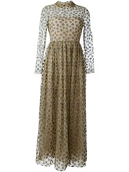 Valentino Star Embroidered Evening Dress Nude And Neutrals