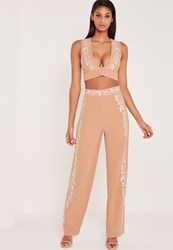 Missguided Carli Bybel Embroidered Side Wide Leg Trousers Nude Beige