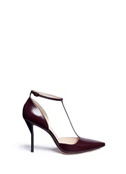3.1 Phillip Lim 'Martini' T Strap Leather Pumps Red