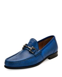 Salvatore Ferragamo Mason 3 Lizard Gancini Bit Loafer Royal Blue