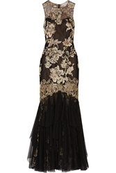 Notte By Marchesa Metallic Embroidered Tulle Gown
