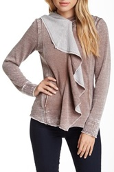 Blanc Noir Hooded Fleece Drape Front Cardigan Brown