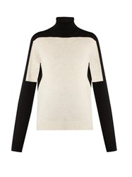 Jil Sander Roll Neck Long Sleeved Wool Sweater White Black