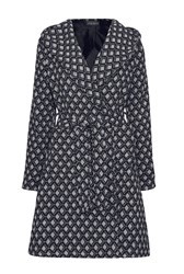James Lakeland Pattern Coat With Hood Black White