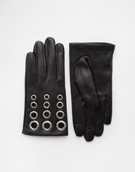 Asos Leather Gloves With Eyelet Detail And Touch Screen Black