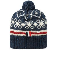 Thom Browne Fair Isle Pom Pom Hat Blue