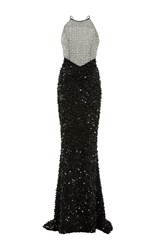 Elizabeth Kennedy Geometric Embroidered Tie Up Detail Full Length Dress Black White