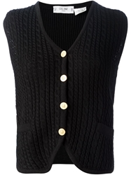 Celine Vintage Cable Knit Gilet Black