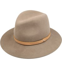 Rag And Bone Wool Leather Wide Brim Fedora Tan